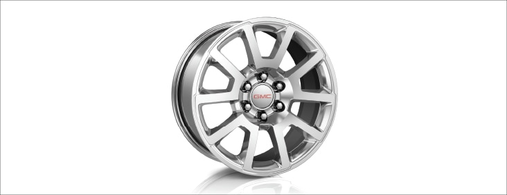 Rims and tire of the 2015 Yukon Denali full size luxury SUV.